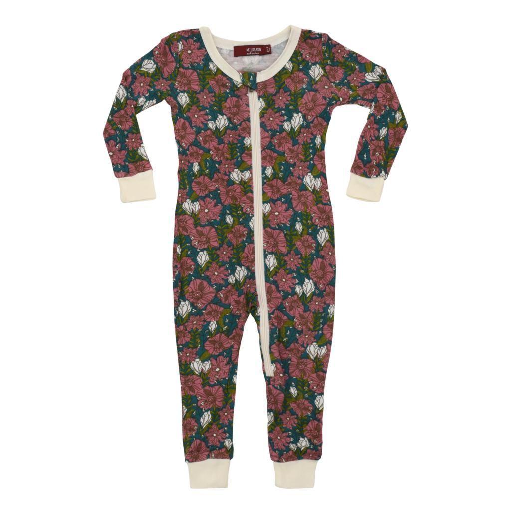 MilkBarn Bamboo Zip Pajamas Purple Floral