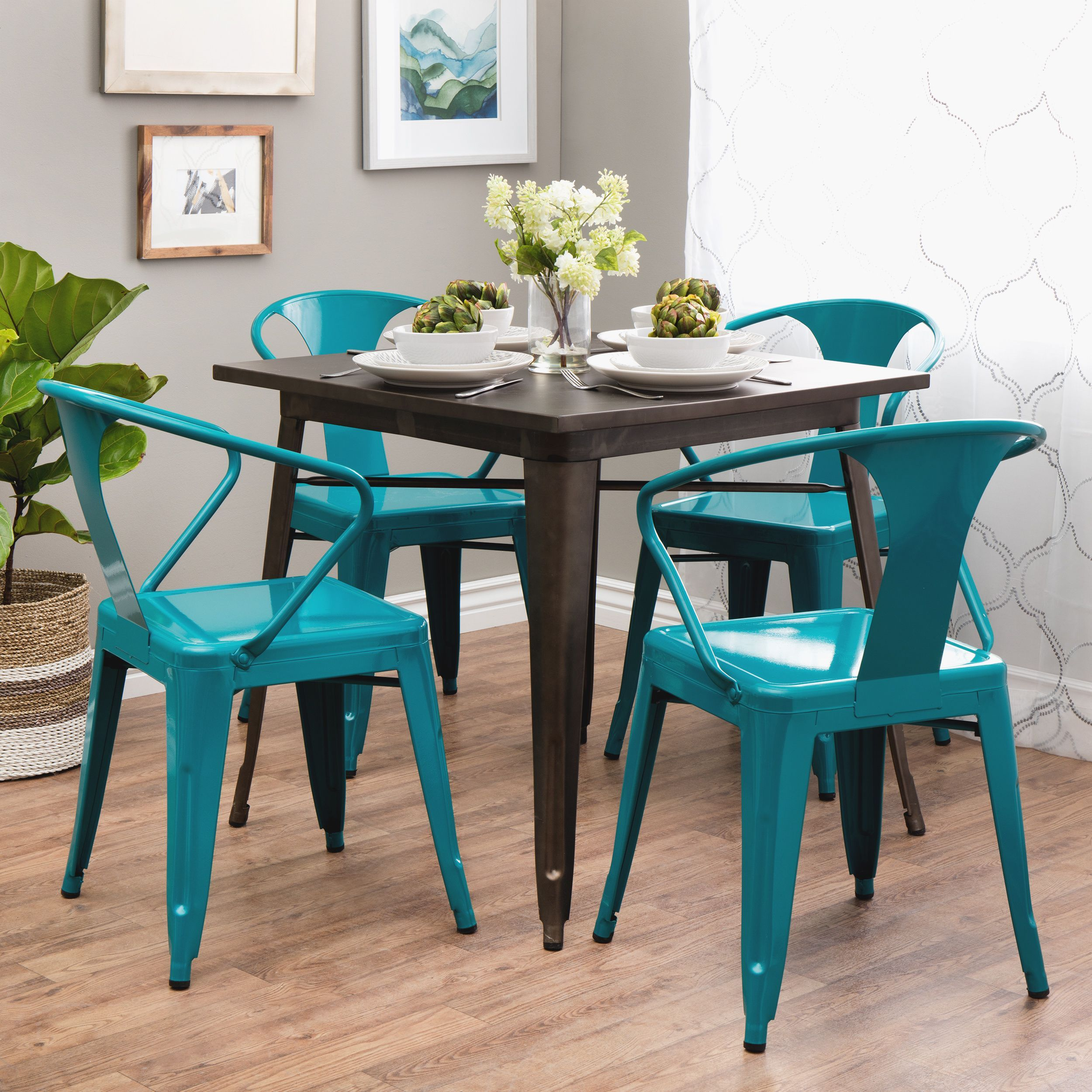 stylish stacking chairs in a fun peackock blue - Tabouret chairs ...