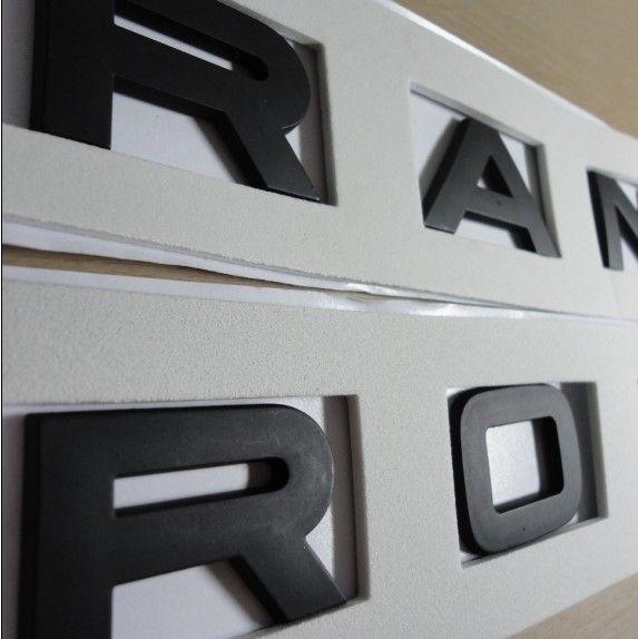Range rover matt black emblems, badge, letters.