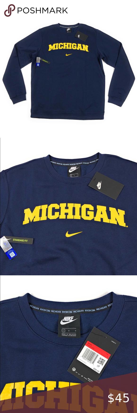 Nike Univ Michigan Wolverines Crewneck Sweatshirt Nike Crewneck Sweatshirt Sweatshirts Yellow Crewneck Sweatshirt [ 1740 x 580 Pixel ]