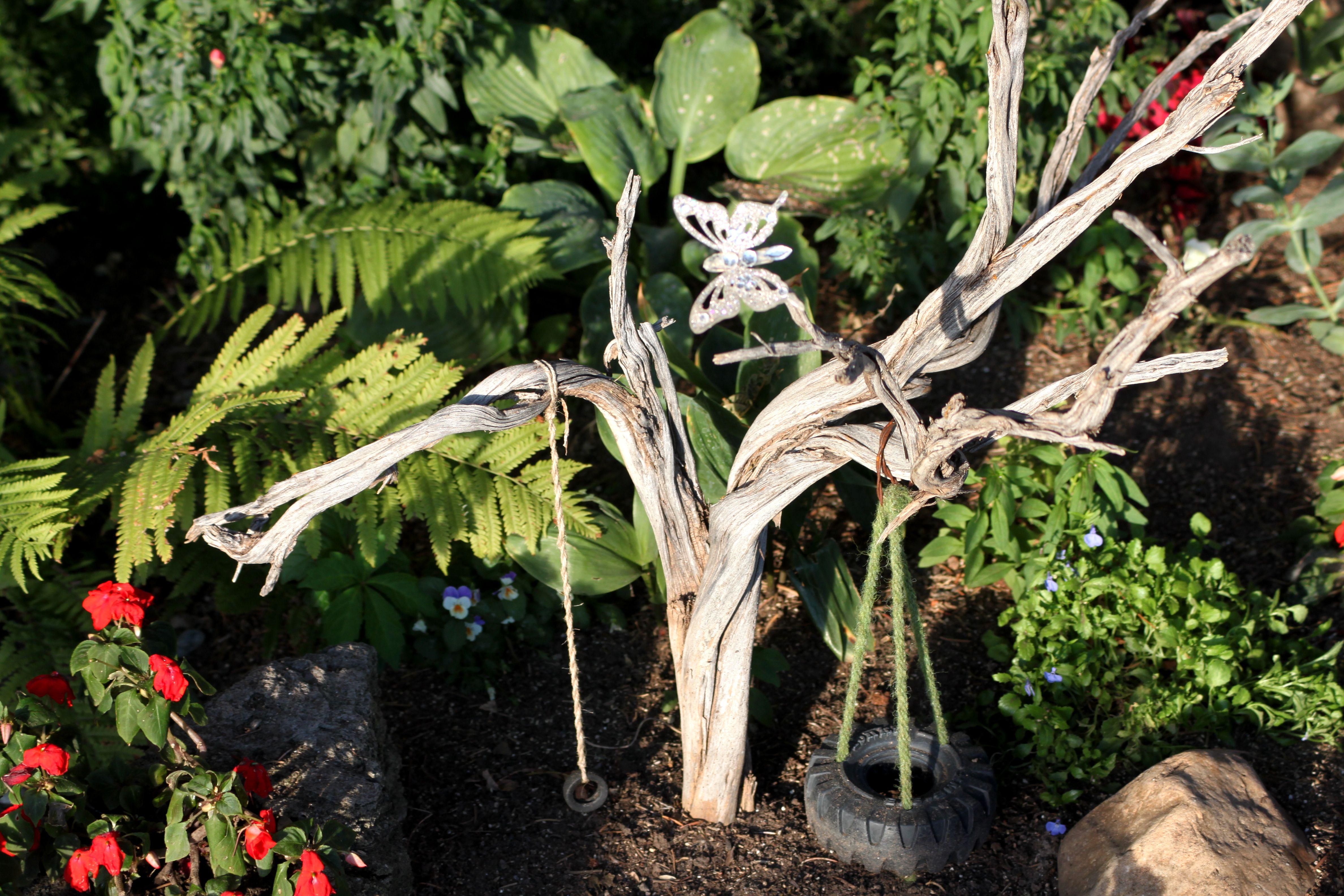 Tire swing for faries fairy pinterest gardens miniature