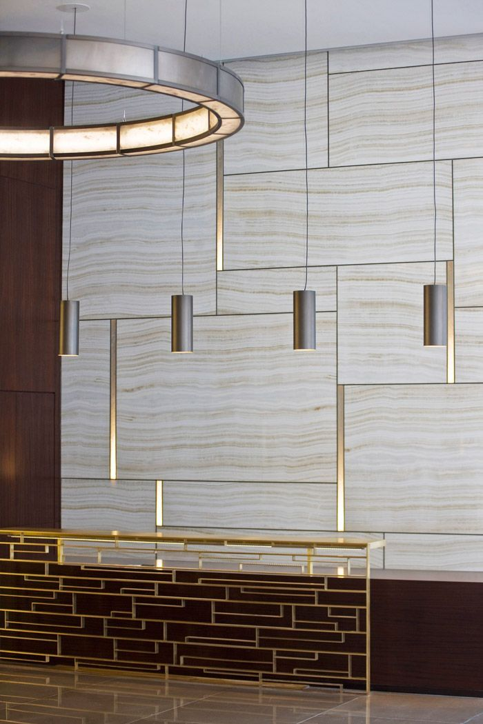 Stone And Brass Contemporary Lobby 1930 Chestnut Street Interior Reception Desk Design