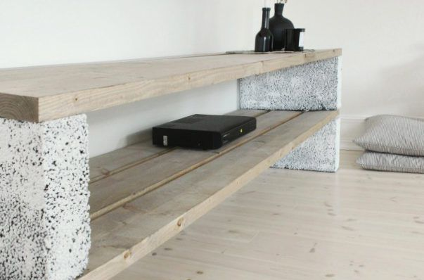 betonbl cke f r tolle diy m bel tv schrank selber bauen sitzbank pinterest discover more. Black Bedroom Furniture Sets. Home Design Ideas