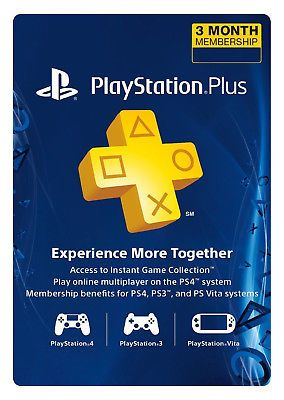 Sony PlayStation Plus 3 Month Membership Subscription Card