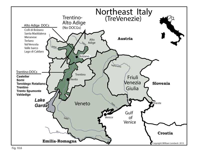 Map Of North East Italy.Italy Wine Map Northeast Italy Trevenezie In Vino Veritas