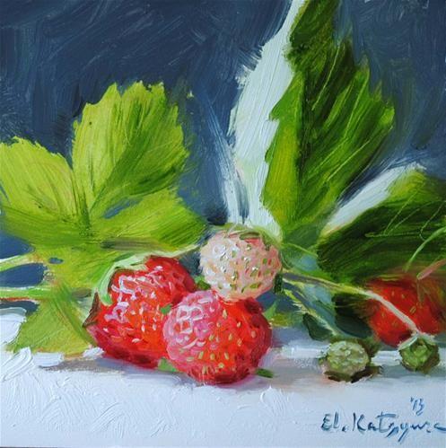 """""""Garden Strawberries"""" - Original Fine Art for Sale - © Elena Katsyura"""