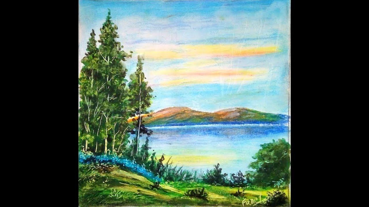 A Beautiful Landscape Scenery Drawing Landscape Drawing With Oil Pastel Landscape Drawings Pastel Drawing Oil Pastel Drawings
