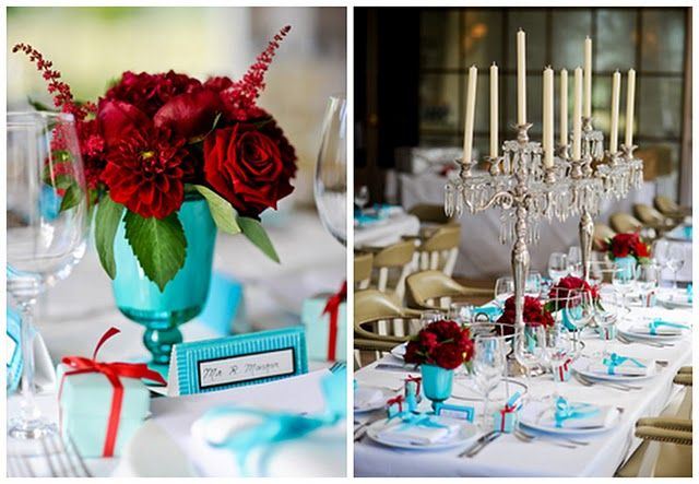 elegant green, turquoise, red wedding | Wedding Theme - By Colour - Grey-Themed Real Weddings