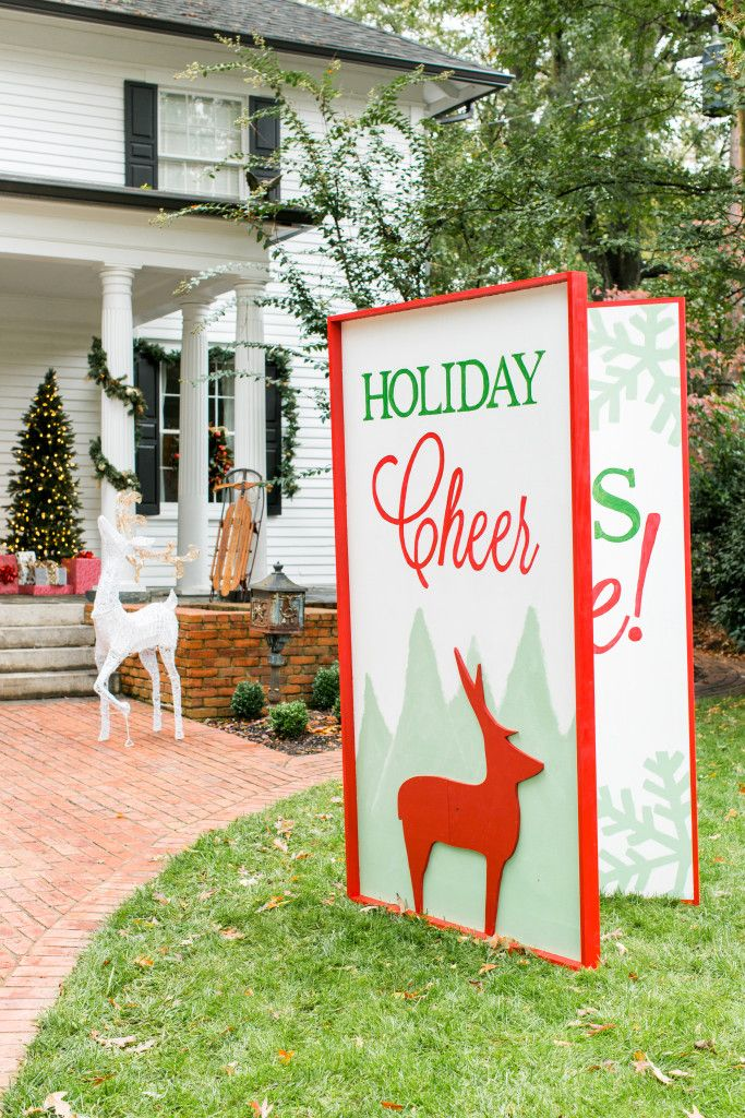 Giant greeting card yard decoration for christmas christmas this giant greeting card will be a fun eye catching addition to your christmas yard decor take a peek at this easy step by step tutorial m4hsunfo