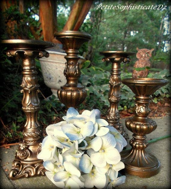 My Sweet Chic Wedding Classic Bronze 4 Piece Candle Holder ...
