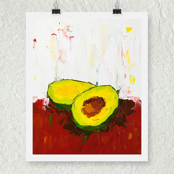 Kitchen Art Decor, Avocado Print, Fruit Art, Green Kitchen Decor, Still Life