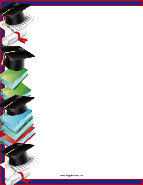 This printable graduation border for students features a column of papers, books, grad caps, and diplomas. Free to download and print.