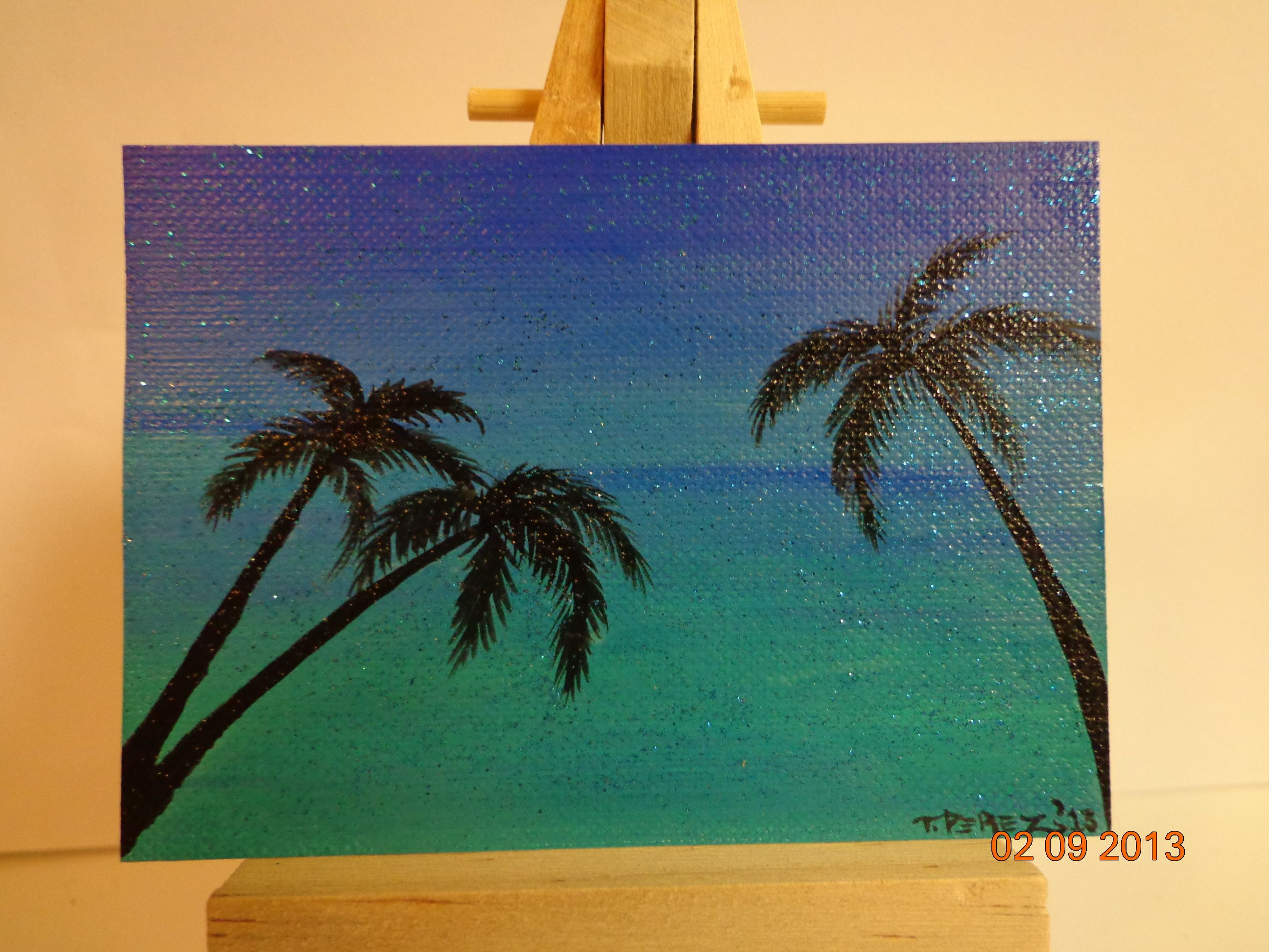 blue and aqua colors palm tree sillouette mini painting. Black Bedroom Furniture Sets. Home Design Ideas
