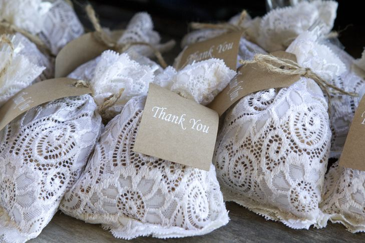 Candied Pecans in Lace Bags as Wedding Favors