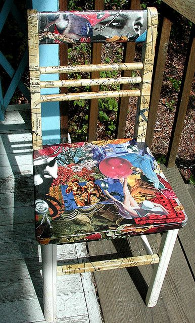 I am revamping an old chair of mine as a fun art project. I have collaged the seat and the back rest parts of the chair with magazine images, and the rungs and legs are going to all be covered in old sewing pattern paper. This is my progress on the p