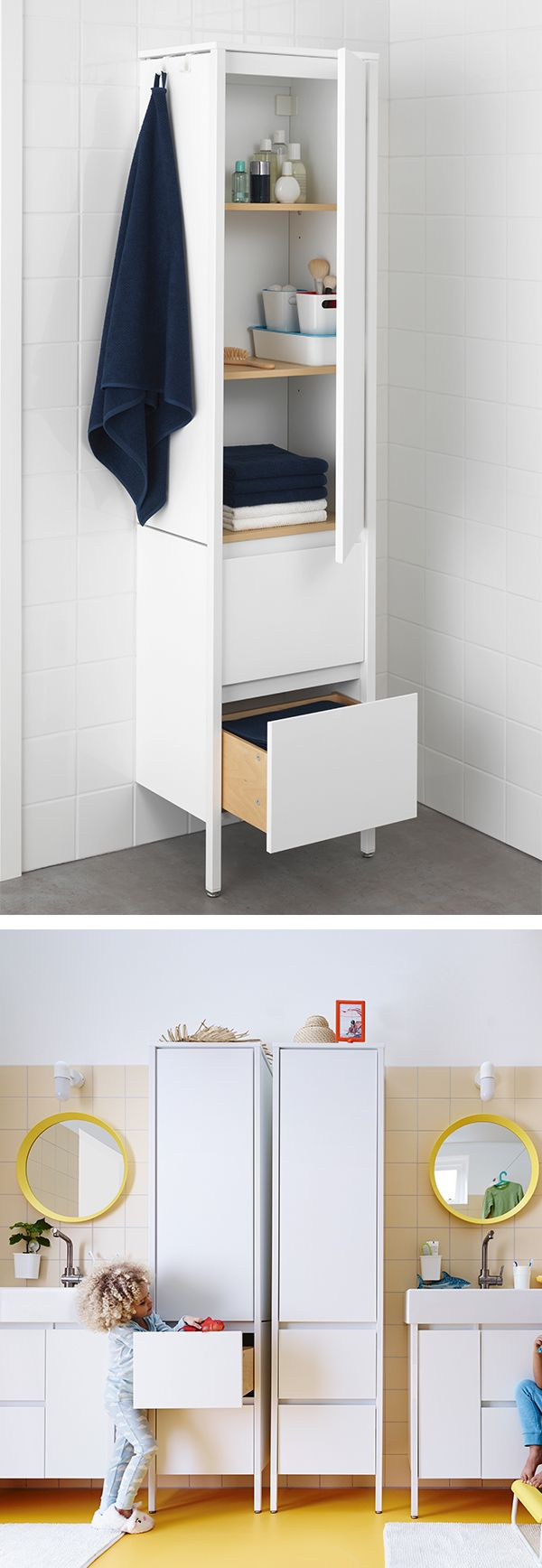Add extra storage to your bathroom without adding extra space! The IKEA YDDINGEN high cabinet has hooks for towels or other things that you want to have within easy reach.