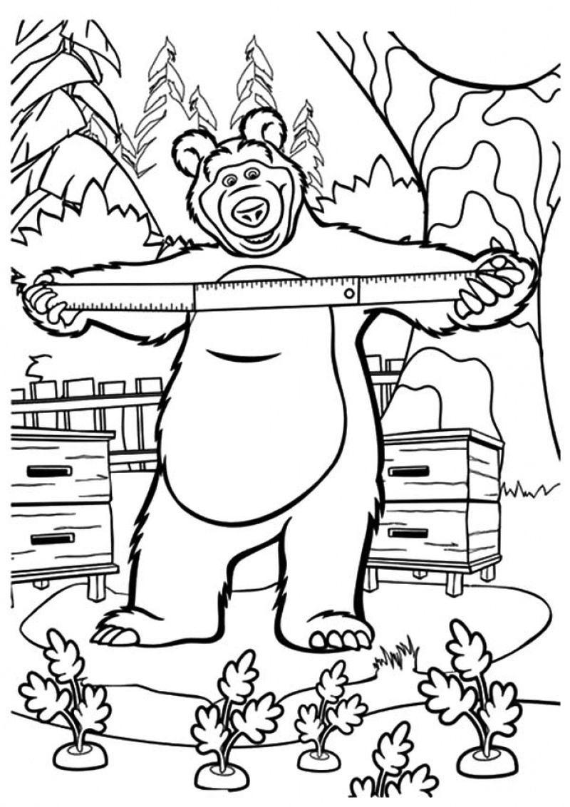 Masha Bear Coloring Printable Sheet Bear Coloring Pages Coloring Books Kids Printable Coloring Pages