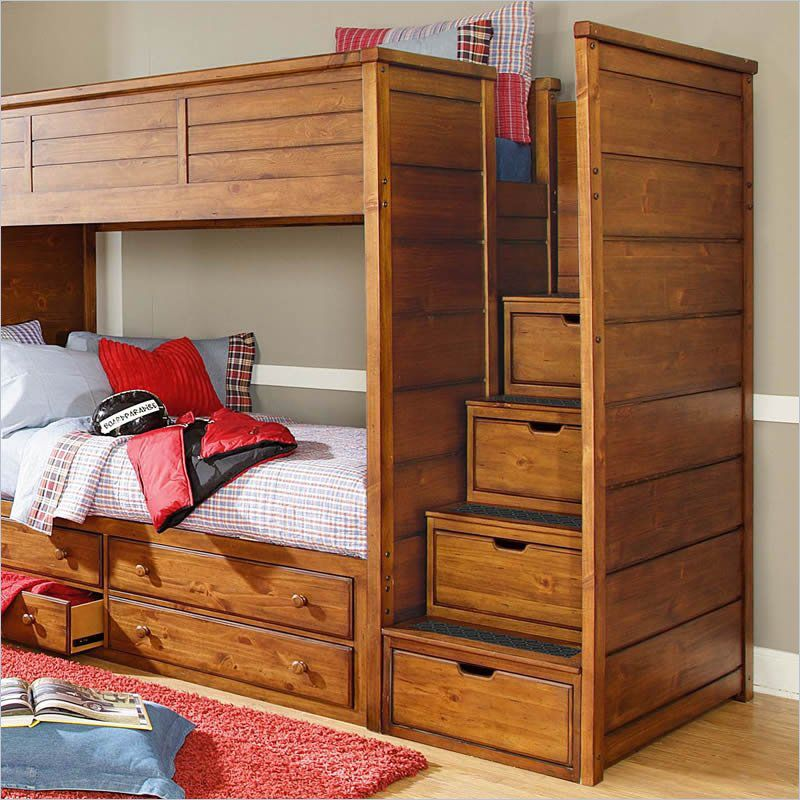 Logan County Bunk Bed with Drawer Steps by Lea Furniture | Solid ...