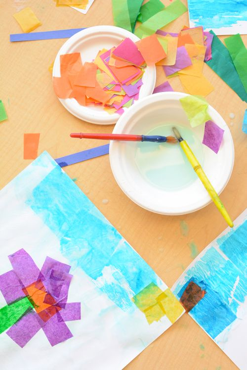 Simple Tissue Paper Flower Art For Kids Kindergarten Art