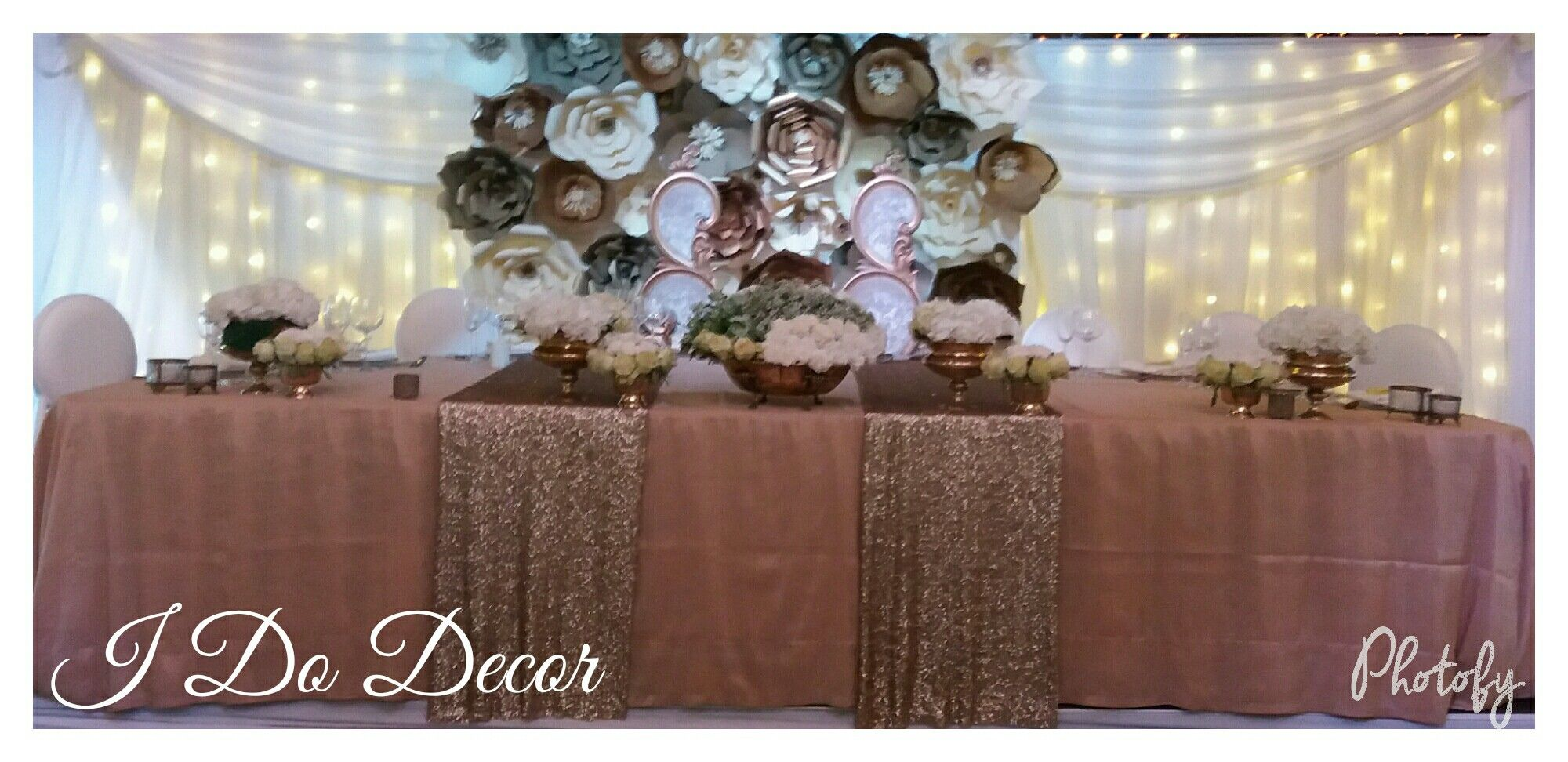 Golds And Creams Paper Flower Backdrop Wedding Decor Paper