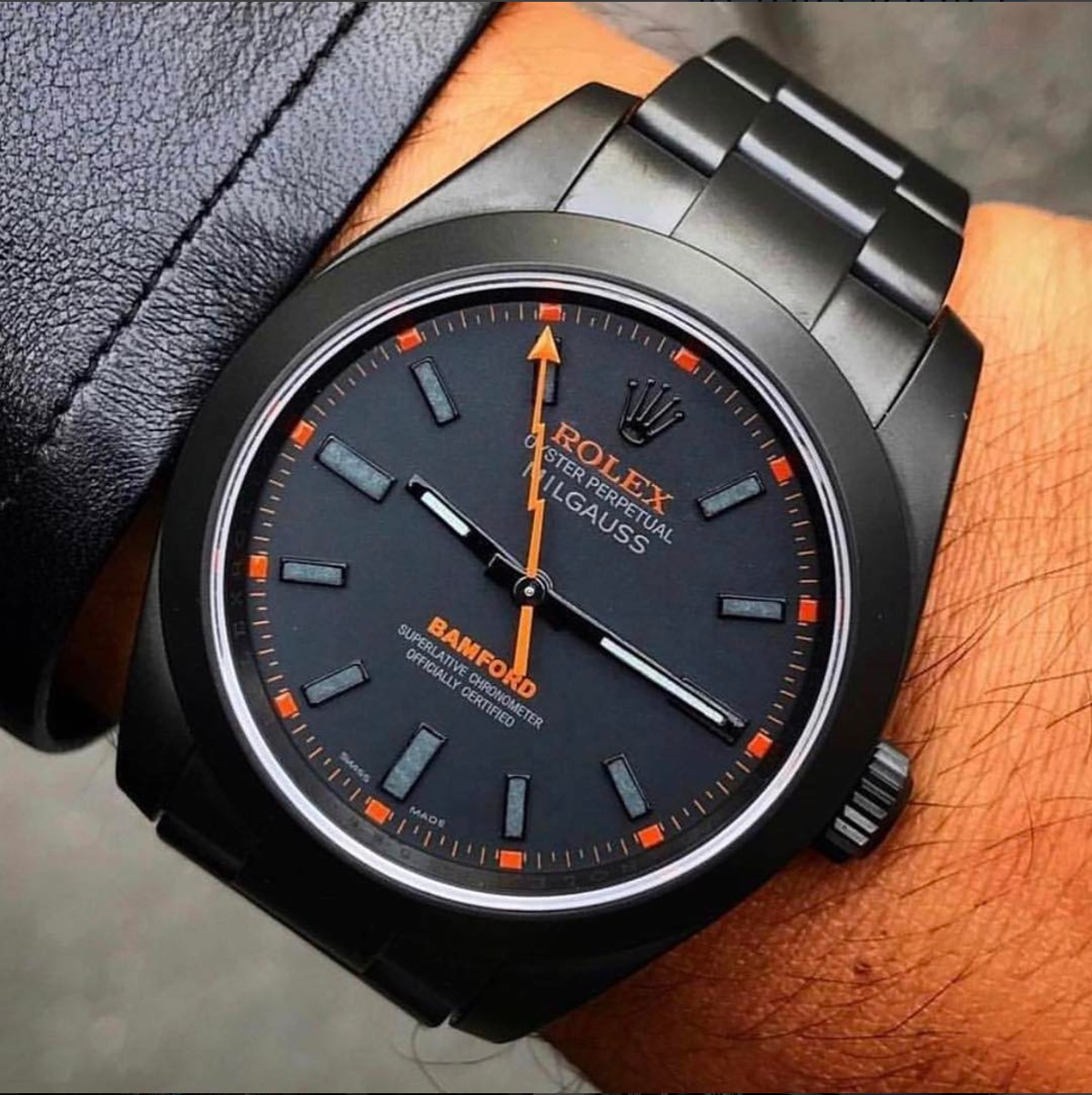 orange&black ⚫️ art edition of a Rolex Milgauss   https://www.instagram.com/p/BPcyRkGA0Mo/?tagged=styleaddict