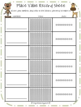 zoo place value record sheet place value pinterest place