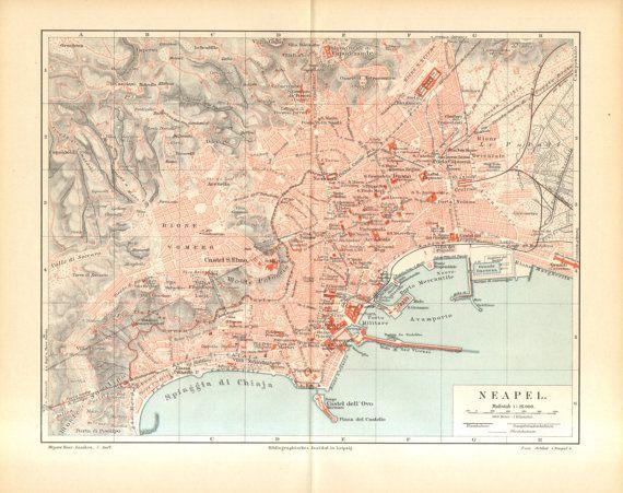 1896 Original Antique City Map of Naples, Italy | Home Decor ...