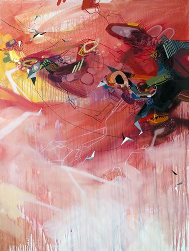 """They Bring Thunder, oil, ink, alkyd, and marker on linen, 48""""x36"""", by Dana Oldfather"""