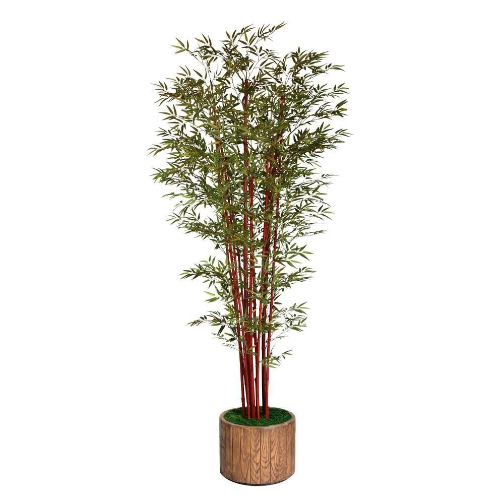 97 in. Tall Harvest Bamboo Tree in 16 in. Fiberstone Planter, Brown