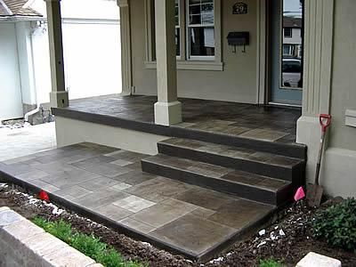 Stamped Concrete Thinking About Doing This Look For My Front Patio And Around The Pool In Back Concrete Front Porch Concrete Patio Concrete Porch