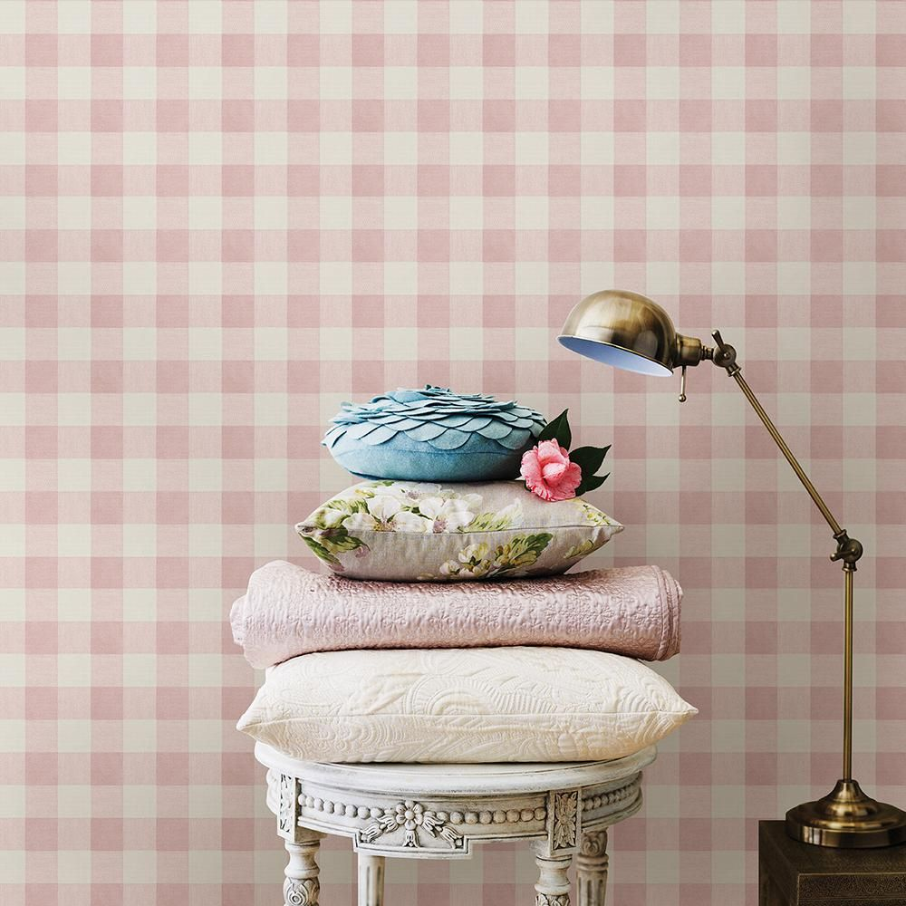 Chesapeake Claire Pink Gingham Wallpaper Sample 3112