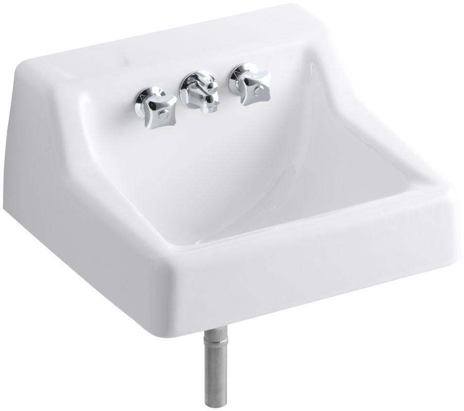 Kohler K 2703 Hampton 15 Cast Iron Wall Mounted Bathroom Sink With Triton Fauce White Fixture Lavat Rectangular Sink Bathroom Sink Wall Mounted Bathroom Sinks