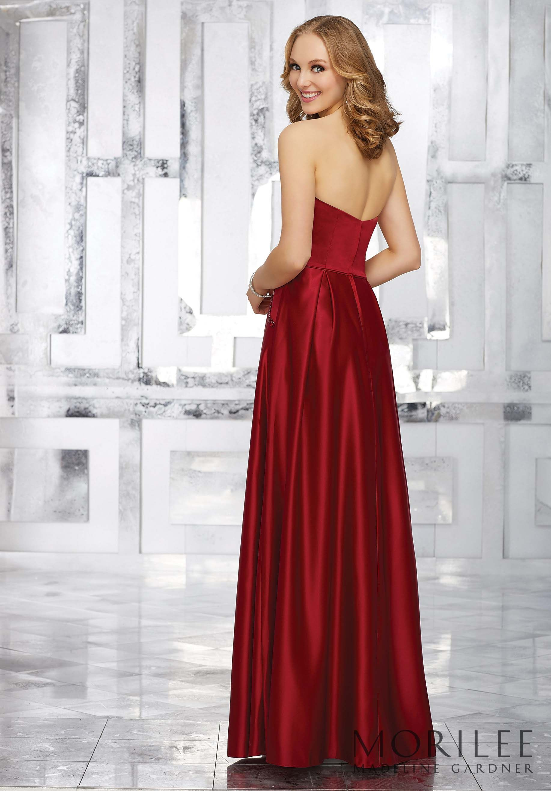Morilee madeline gardner style 21548 red sleek satin strapless morilee madeline gardner style 21548 red sleek satin strapless bridesmaid dress featuring beaded ombrellifo Images