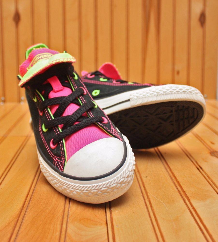 Converse All Star Chuck Taylor Double Tongue Sz 2-Black Neon Green Pink-  641190F  Converse  BasketballShoes 0a06332f8