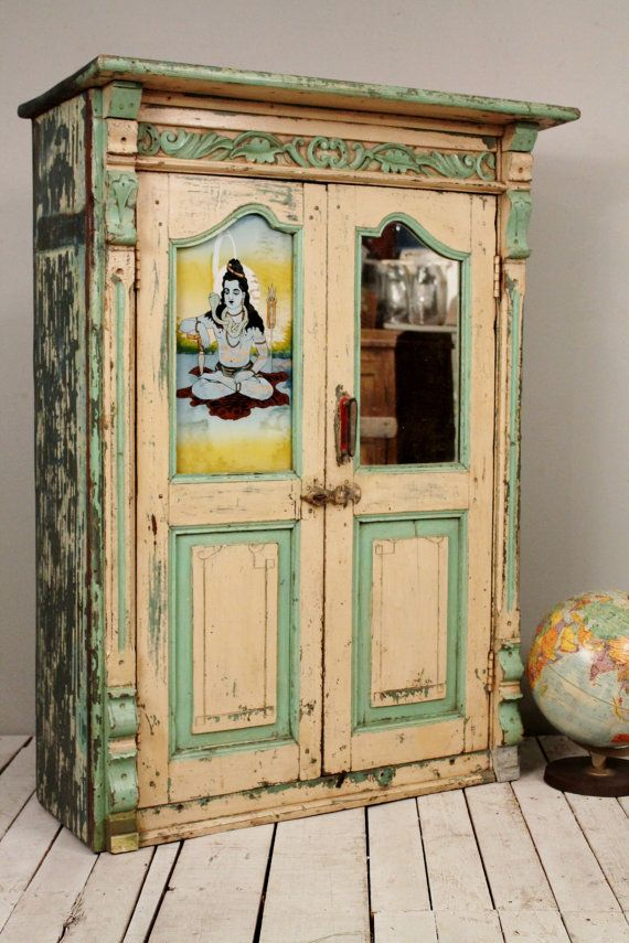 Antique Distressed Chippy Creamy Yellow Green Indian Hand
