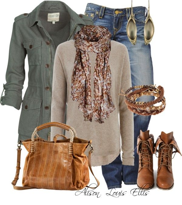Casual Fall Outfit With Military Jacket