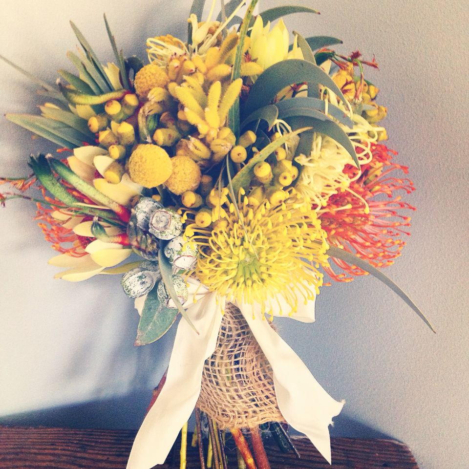 Australian Wedding Gifts: Australian Native Bouquet In Holds And Burnt Reds