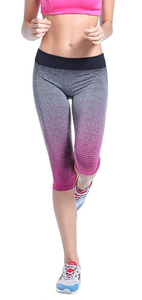Womens Yoga Pants Ombre Colorful Workout Tights Leggings Running Sports Athletic Pants - Fuchsia - C...