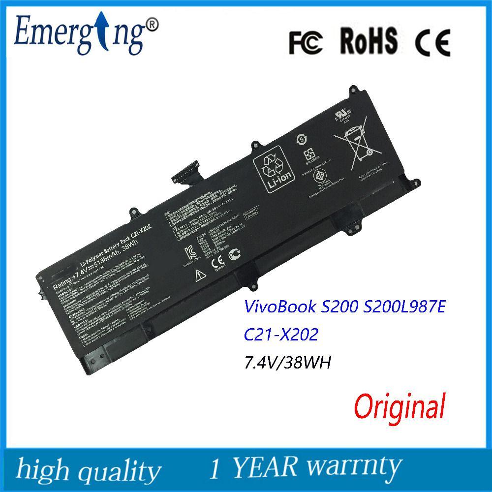 Original 74v 38wh New Laptop Battery For Asus Vivobook S200 S200e Frame Keybord X 455 Casing X202 X202e X201 X201e