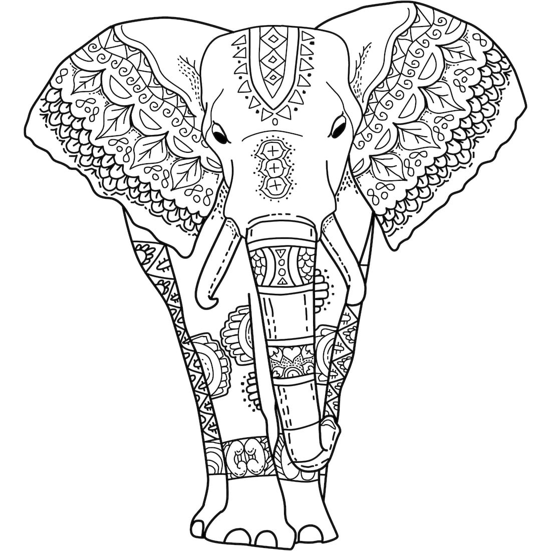 "This is ""Mystical Elephant"", a coloring page for you to"