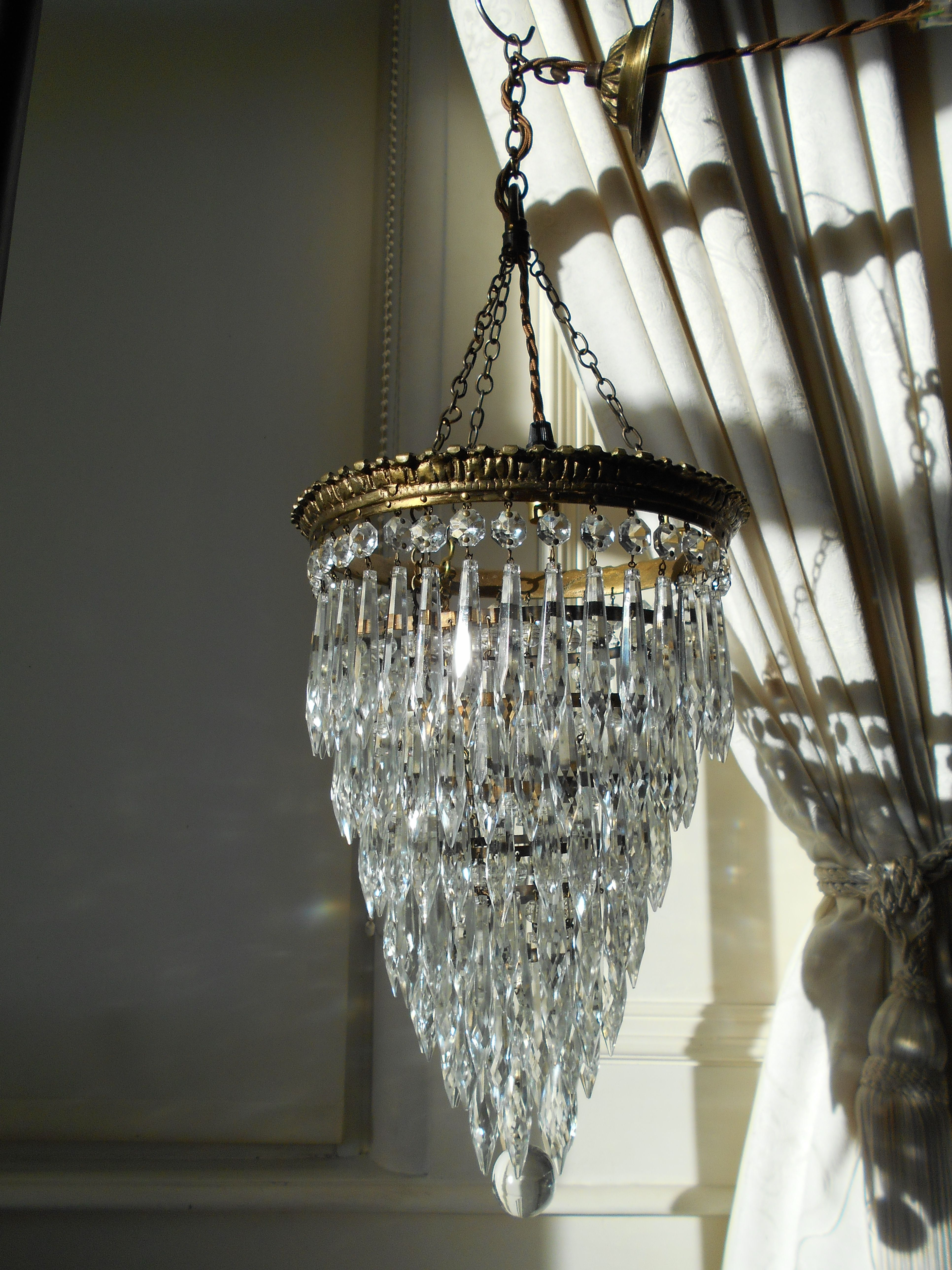 Vintage French 7 Tier Crystal Waterfall Chandelier Crystal Light