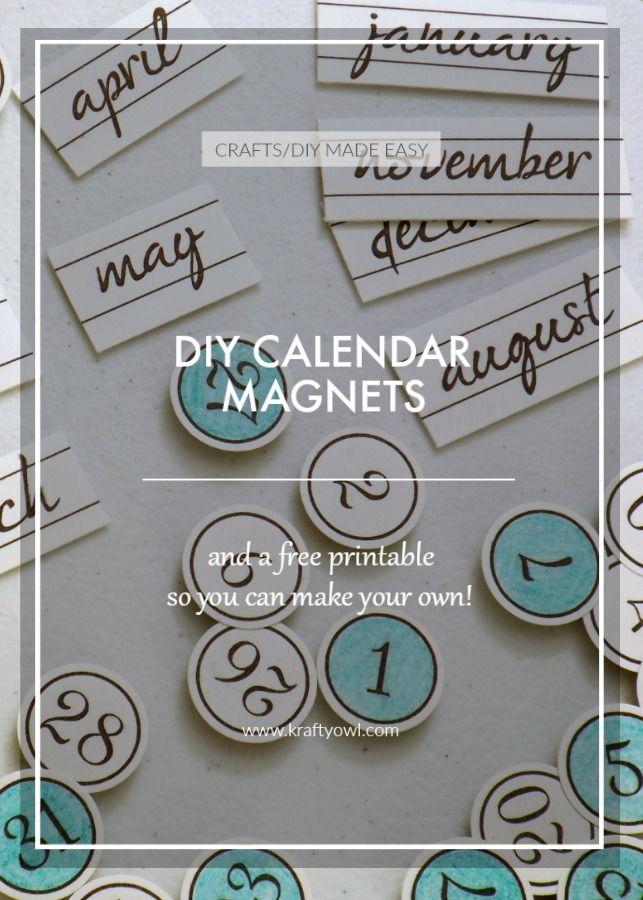 diy calendar magnets a free printable get organized pinterest