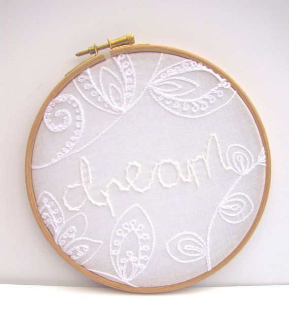 Dream Hand Embroidery Hoop Art Whitework 6 x 6 by mirrymirry, $24.00