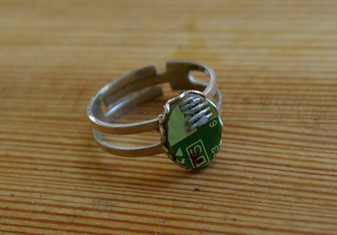 Circuit Board Ring Jewelry Diy Pinterest Old Boards Upcycled Into Jewels Recycled Electronic Waste