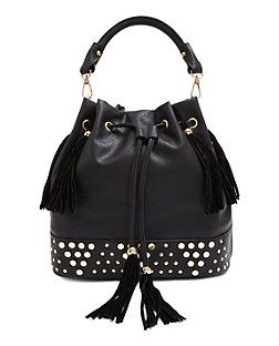 Black Studded Base Tassel Duffle Bag | New Look