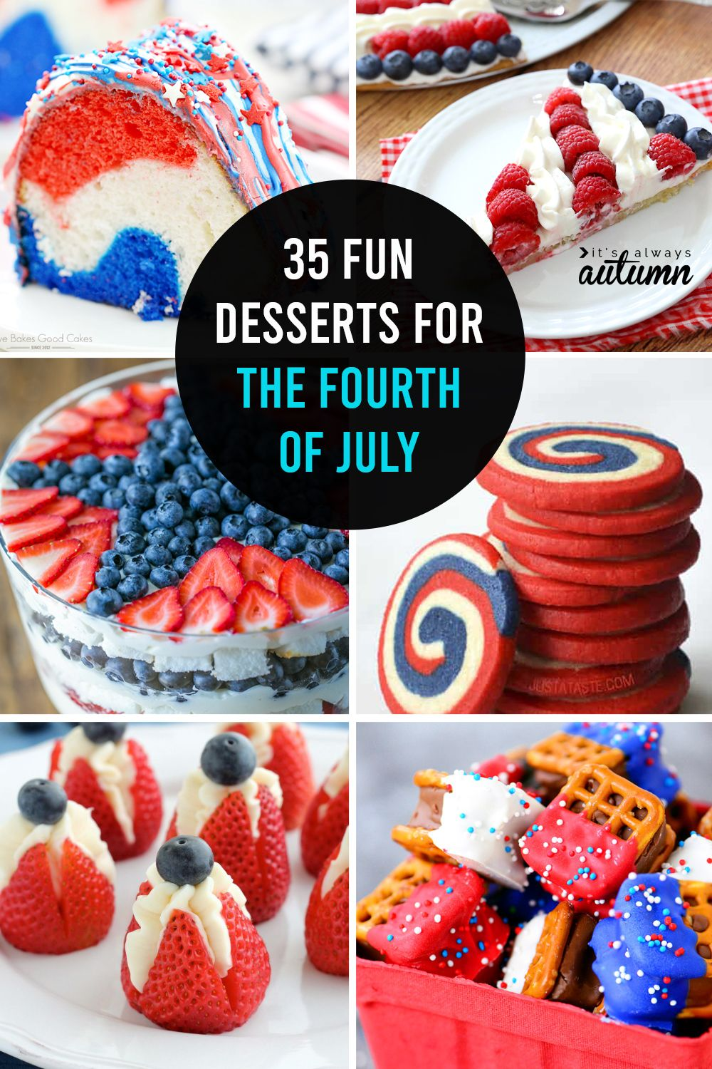 20 red, white and blue desserts for the Fourth of July - It's Always Autumn