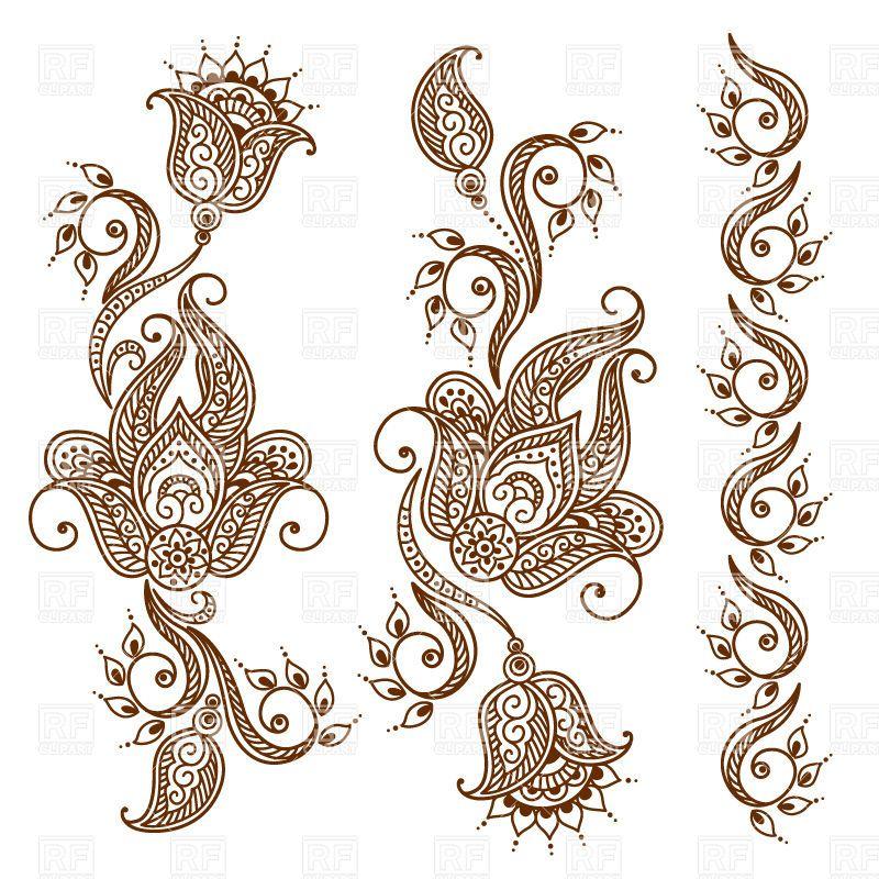 Mehndi Patterns Vector : Mehndi style ornamental flower for tattoo indian ethnic