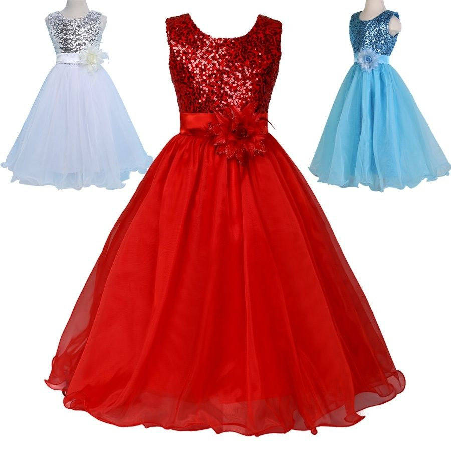 Grace Karin Sleeveless Sequins Voile Flower Girl Princess Bridesmaid Wedding Pageant Party Dress Wish Kids Prom Dresses Dresses Girls Long Dresses [ 900 x 900 Pixel ]