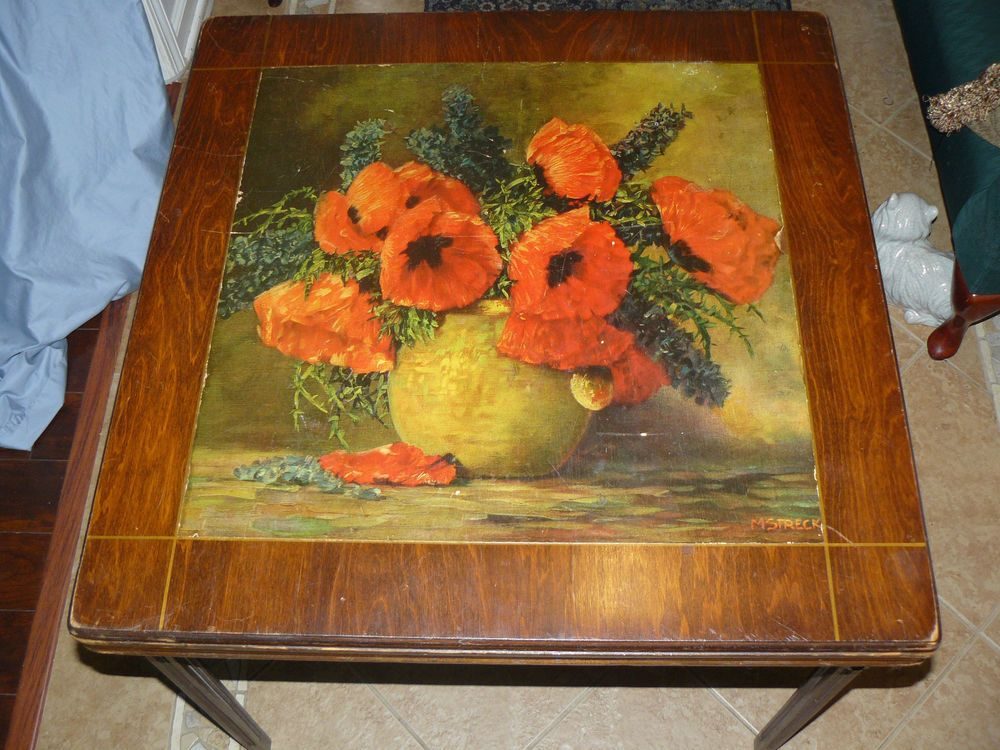 Vintage Rare Antique Folding Wood Card Table Max Streckenbach Poppies Lithograph Midcenturymodern Wood Card Rare Antique Table Cards