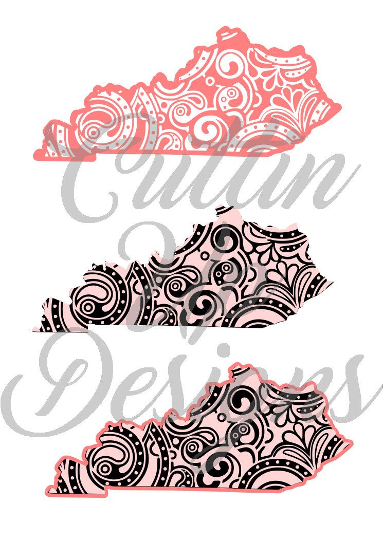 Kentucky State Patterned SVG Set of 3 SVGs. Cutting file for Cricut or Cameo(Designer Edition) One layer, two layer and three layer inc. by CuttinUpGifts on Etsy